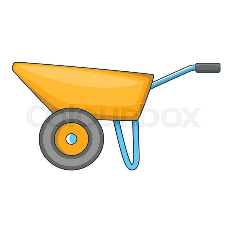Wheelbarrow icon. Cartoon illustration.
