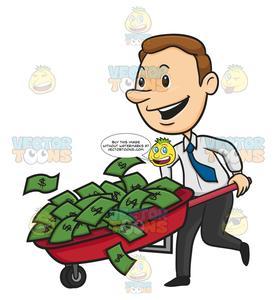 Man Happy Running With Wheelbarrow Full Of Green Money.