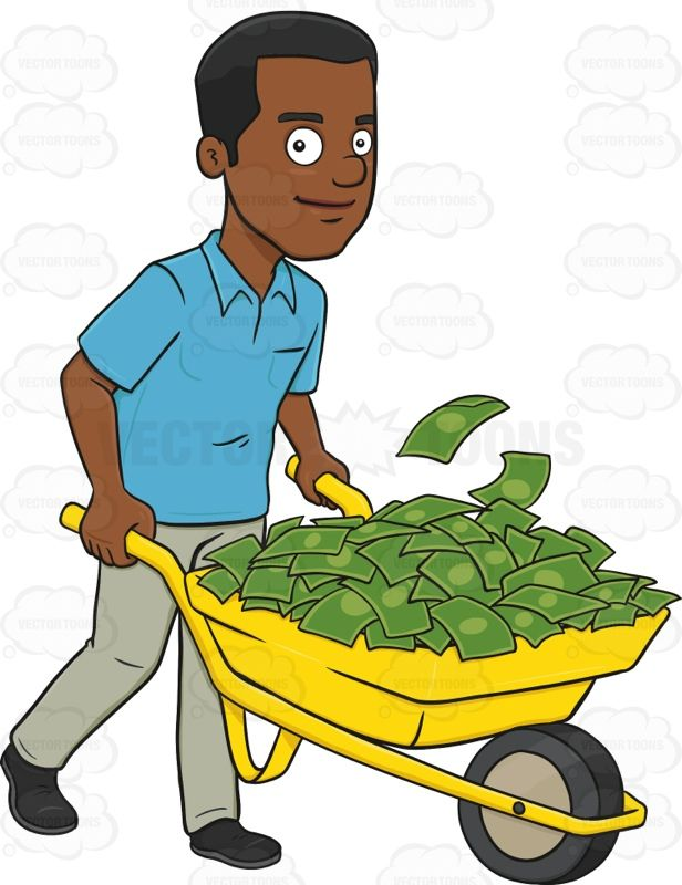 Smiling African American Man Holding A Wheel Barrow Full Of.