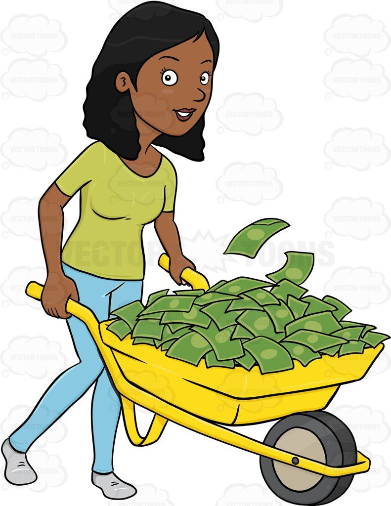 A Dark Haired Woman Transporting A Pile Of Cash Using A.