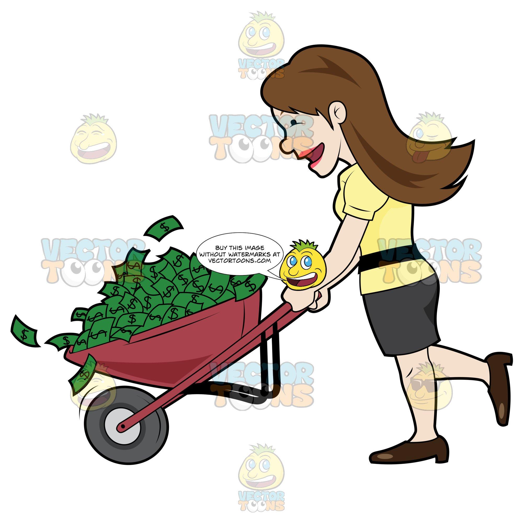 Happy Woman Holding A Wheel Barrow Full Of Cash.