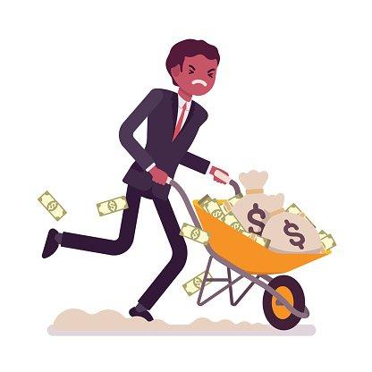 Businessman pushing a wheelbarrow full of money Clipart.