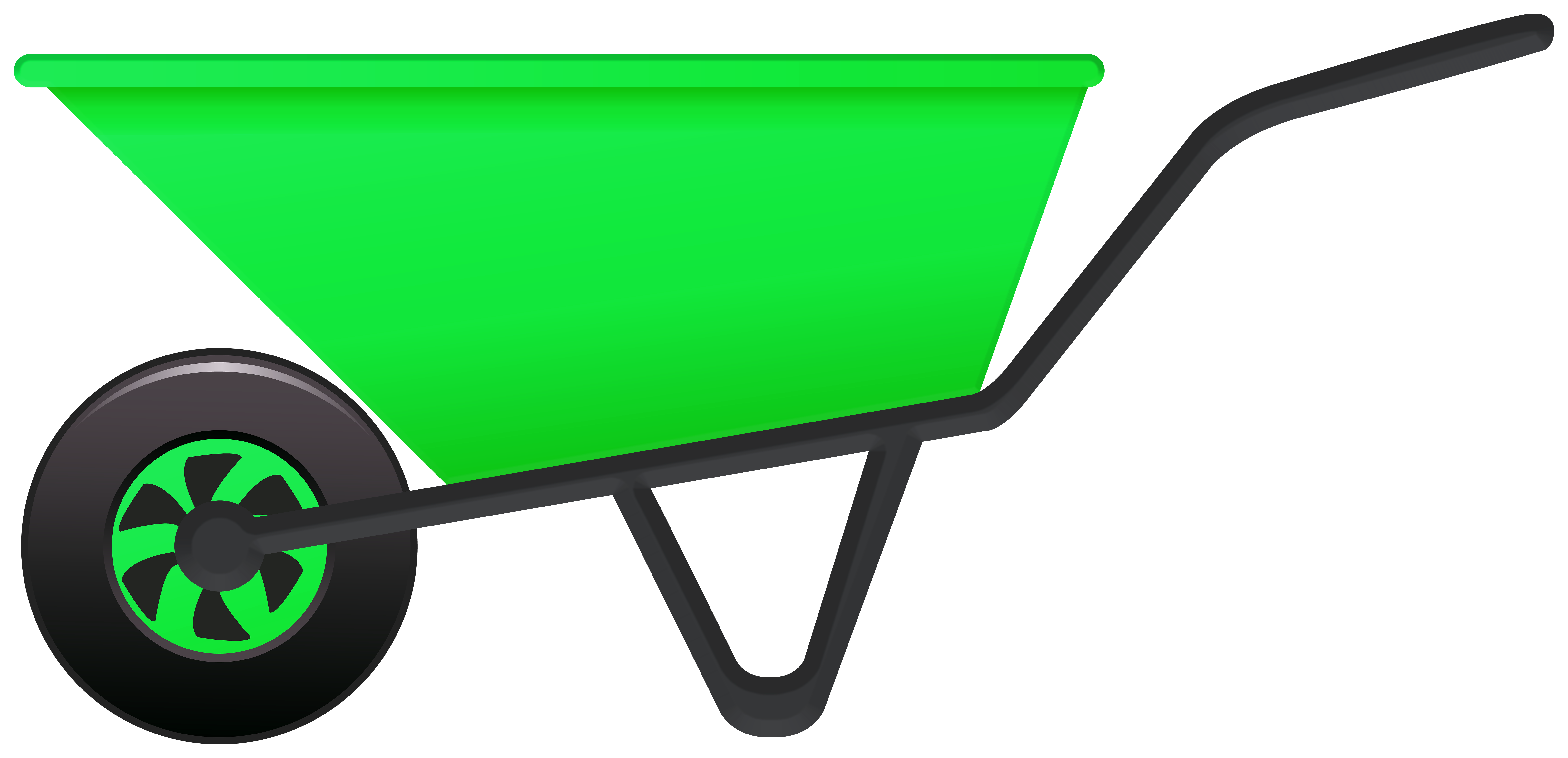 Green Wheelbarrow PNG Clipart.
