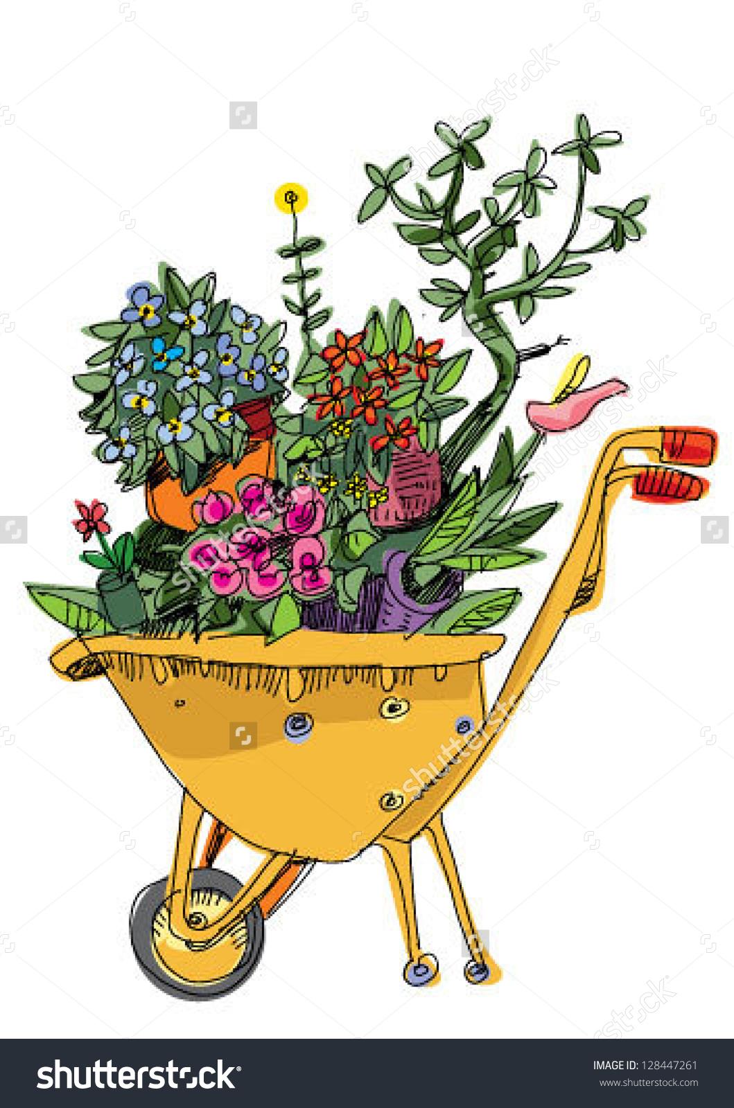 wheelbarrow with flowers clipart #12
