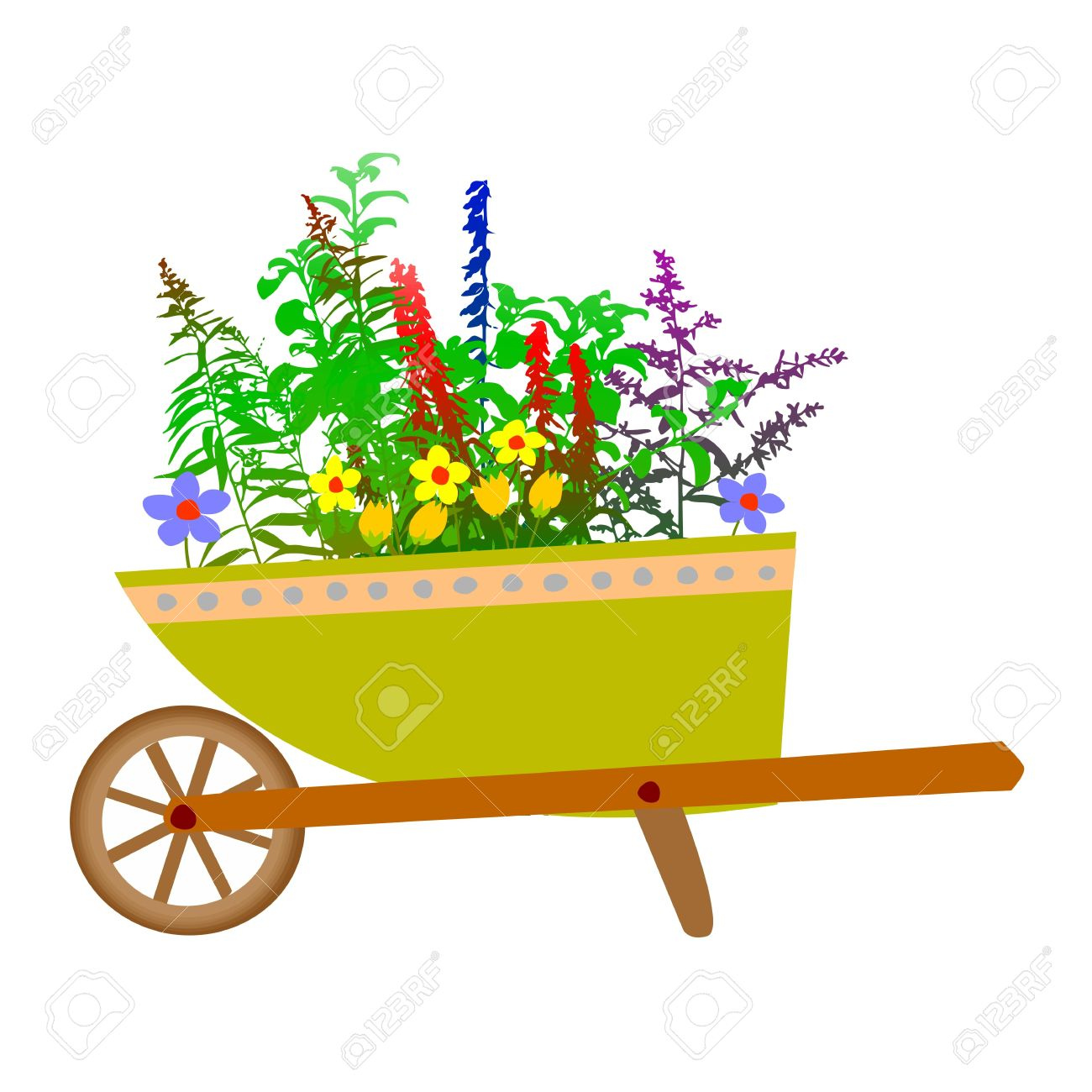 Wheelbarrow Garden And Flowers.