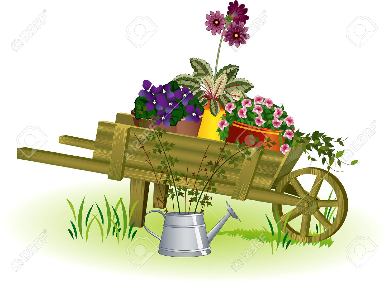 Wheelbarrow With Flowers Clipart.