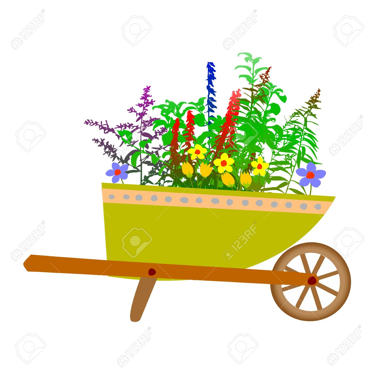 Wheelbarrow Garden And Flowers Royalty Free Cliparts, Vectors, And.