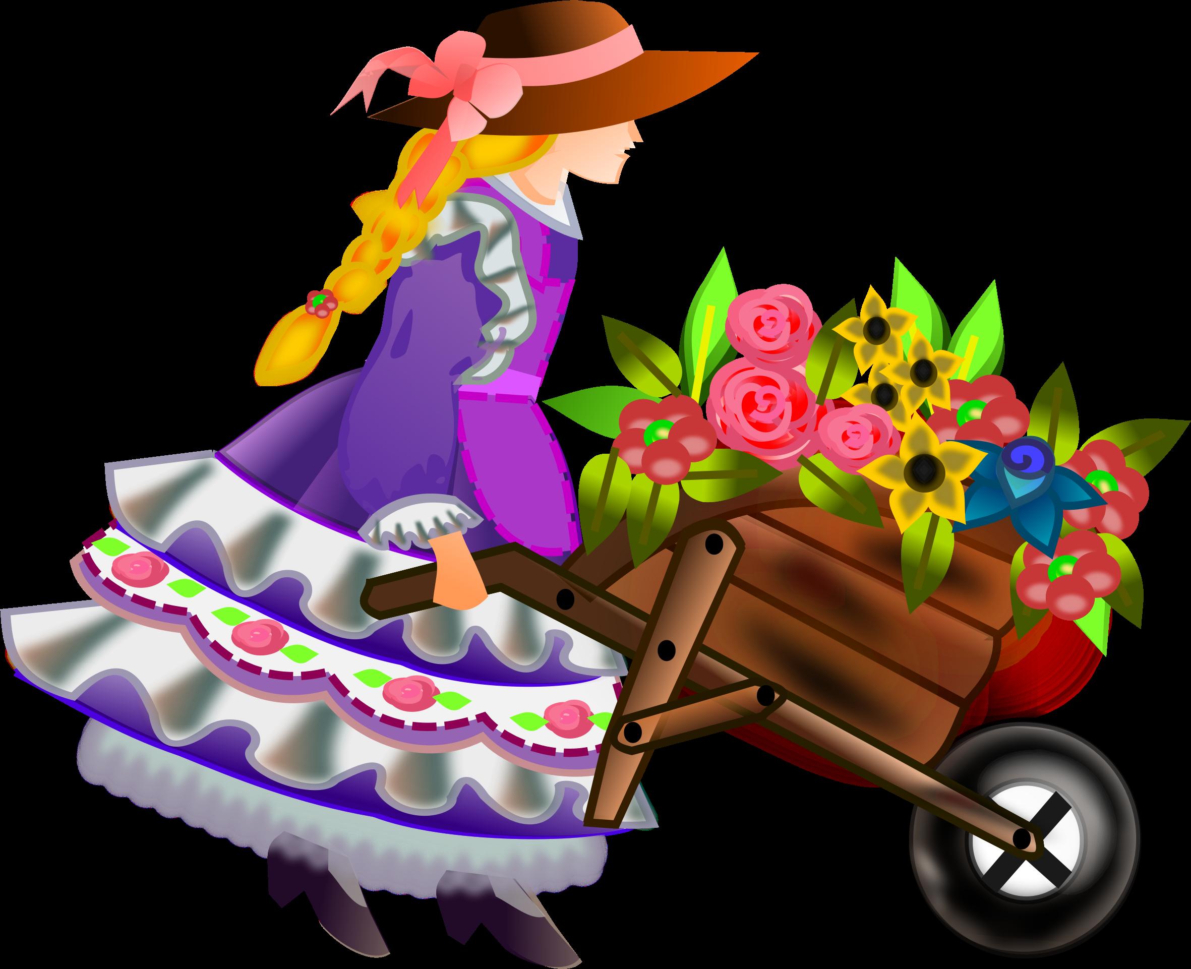 wheelbarrow with flowers by @gurica, A girl pushes a.