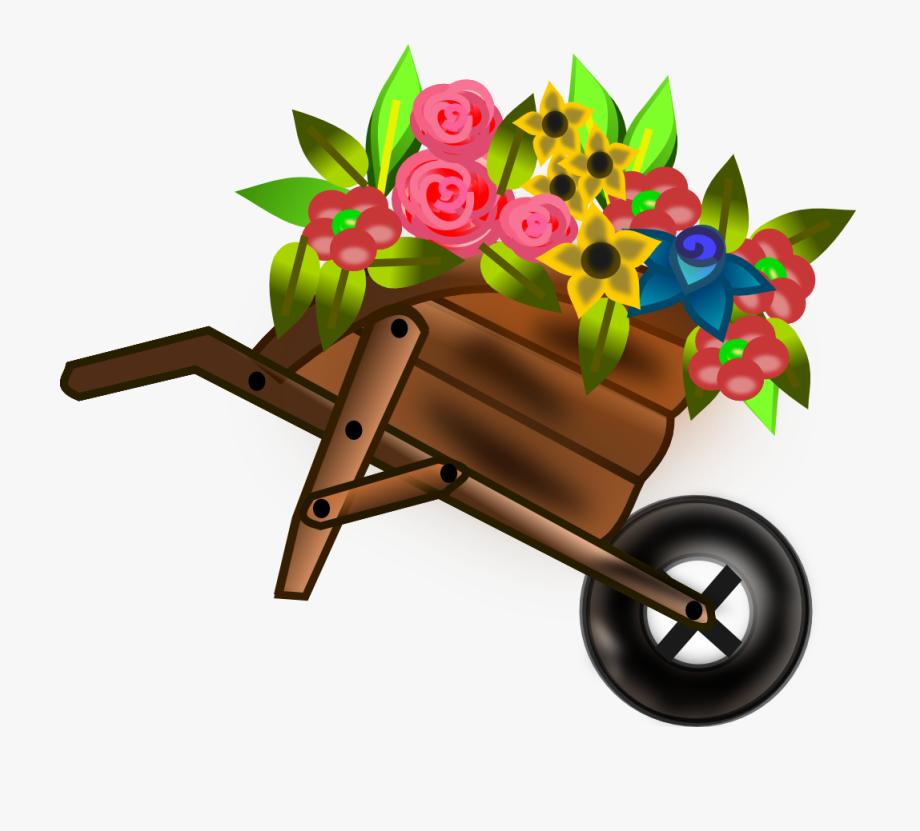 Flower Wheelbarrel Clip Art Free Svg Vector.