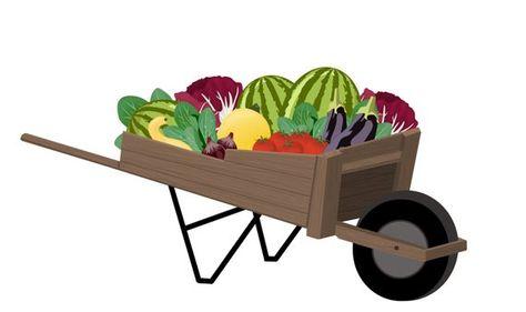 Wheelbarrow Full of Fruits and Vegetables Digital Clip Art.