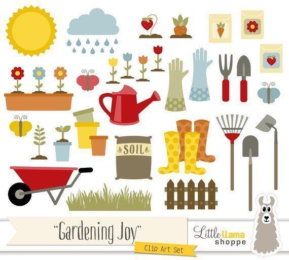 Gardening Clipart, Vector Garden Clip Art, Spring Clipart.