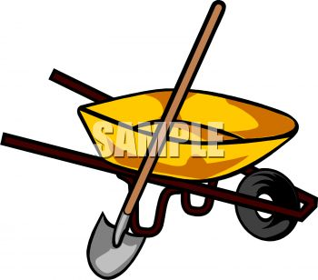 Royalty Free Clip Art Image: A Wheelbarrow With A Shovel.