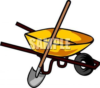 Royalty Free Clip Art Image: A Wheelbarrow With A Shovel.