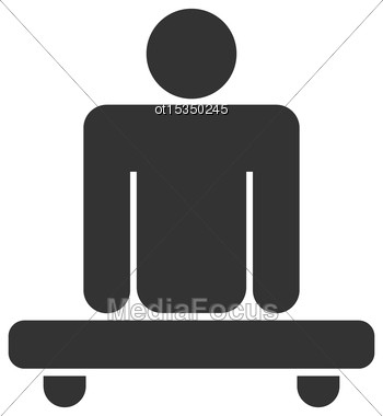 Illustration Pictogram Amputee In Wheelchair White.