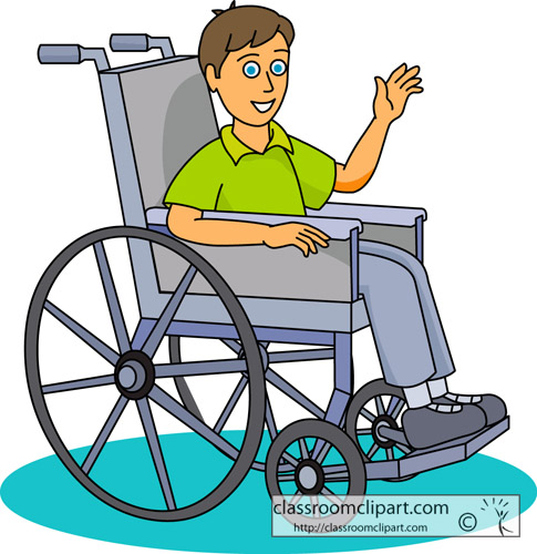 Child Pushing Wheelchair Clipart.