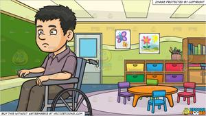 A Disoriented Man In A Wheelchair and Inside A Kindergarten Classroom  Background.