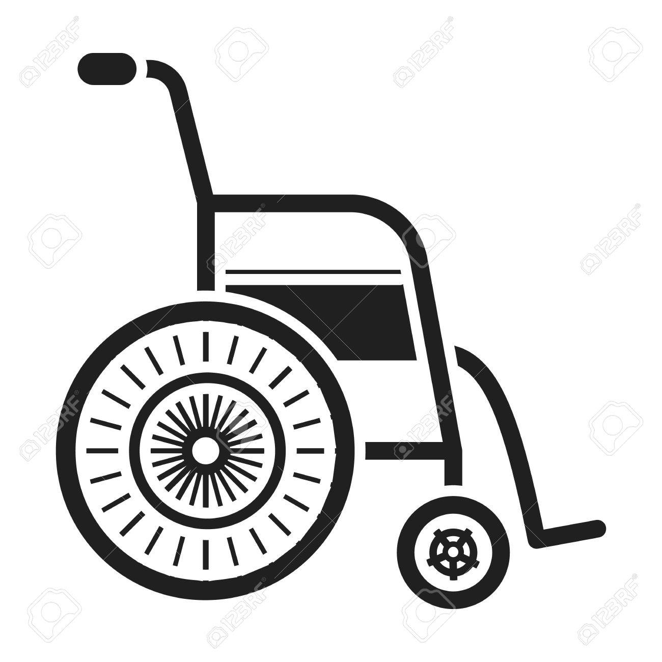 Wheelchair icon in black style isolated on white background.