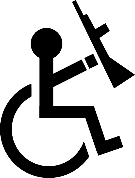 Anarchist on a wheelchair clip art at vector clip art.