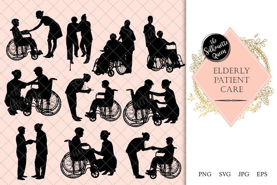 Elderly Care Wheelchair Silhouette.