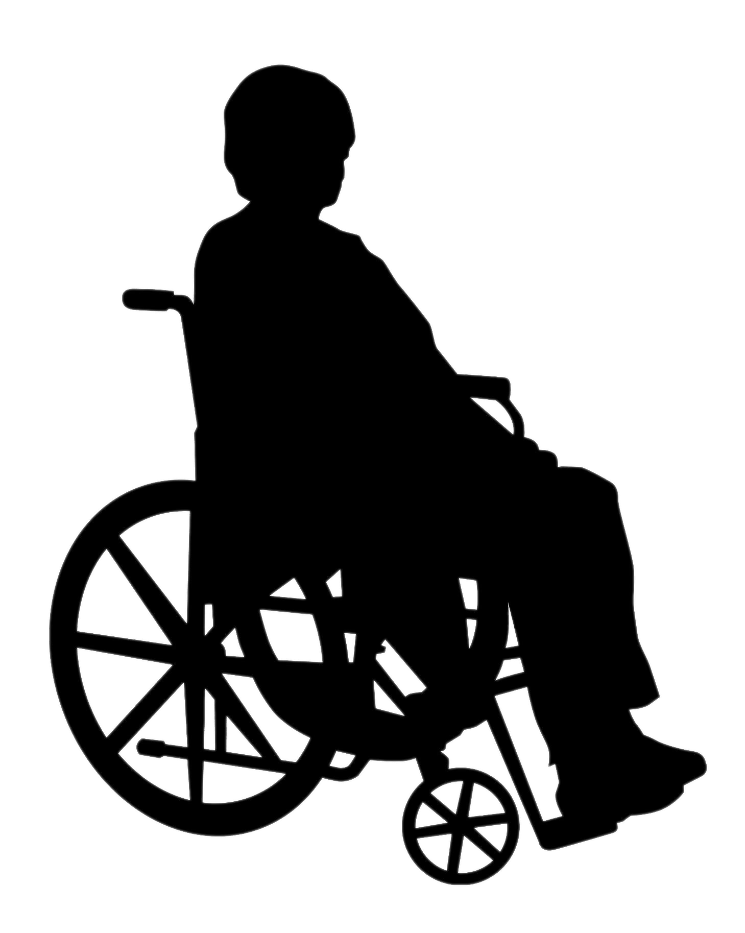 Lady In Wheelchair Silhouette transparent PNG.