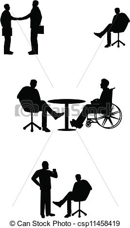 Vector Clip Art of business meetings with wheelchair bound.