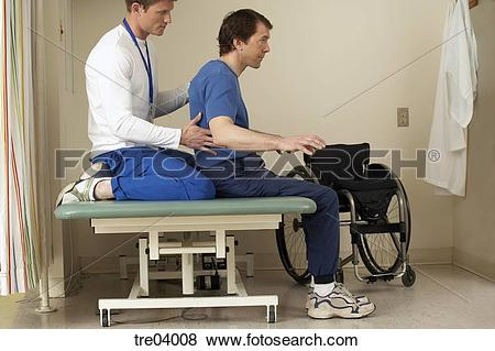 Pictures of Physical therapist helping wheelchair.