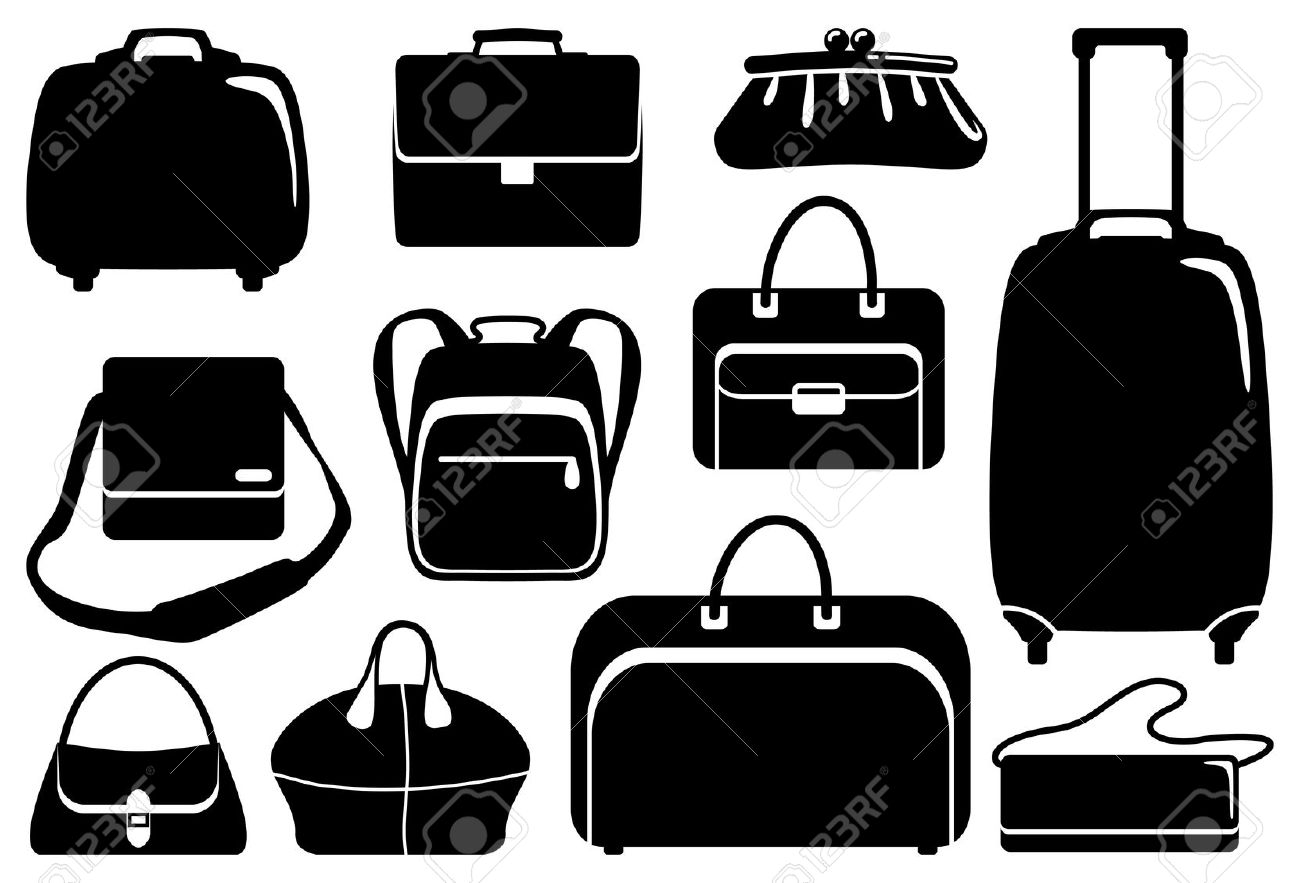 Bags And Suitcases Icons Set Royalty Free Cliparts, Vectors, And.
