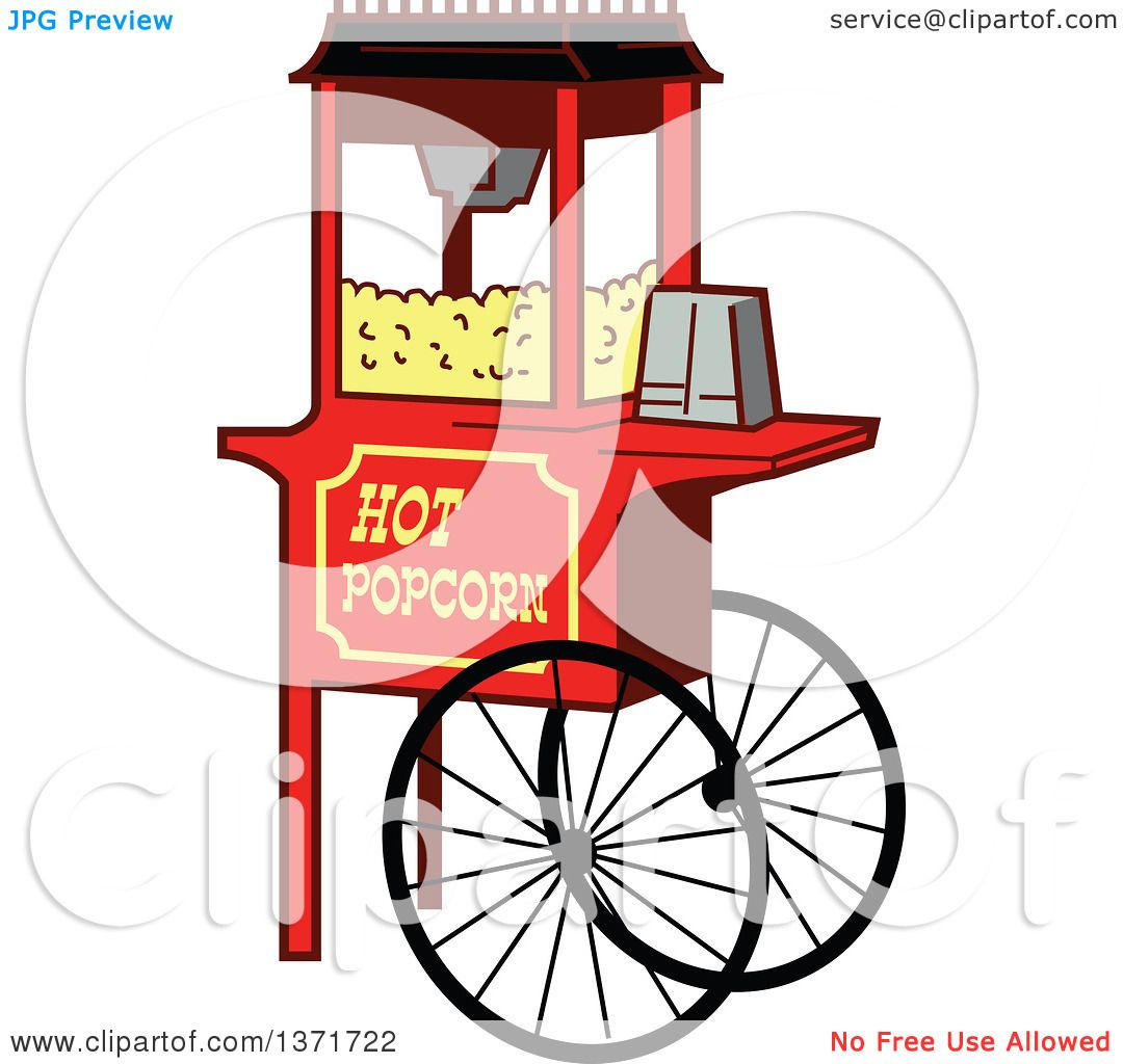 Clipart Of A Wheeled Popcorn Machine Stand.