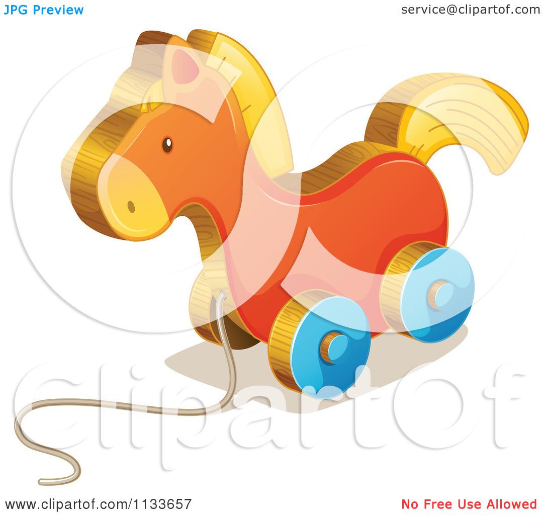Cartoon Of A Wheeled Horse Toy.
