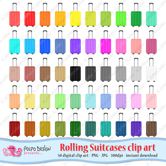 50 colorful Rolling Suitcase clipart. Digital Suitcase clip by.