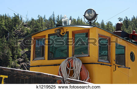 Stock Image of Yellow Tugboat Wheel House k1219525.