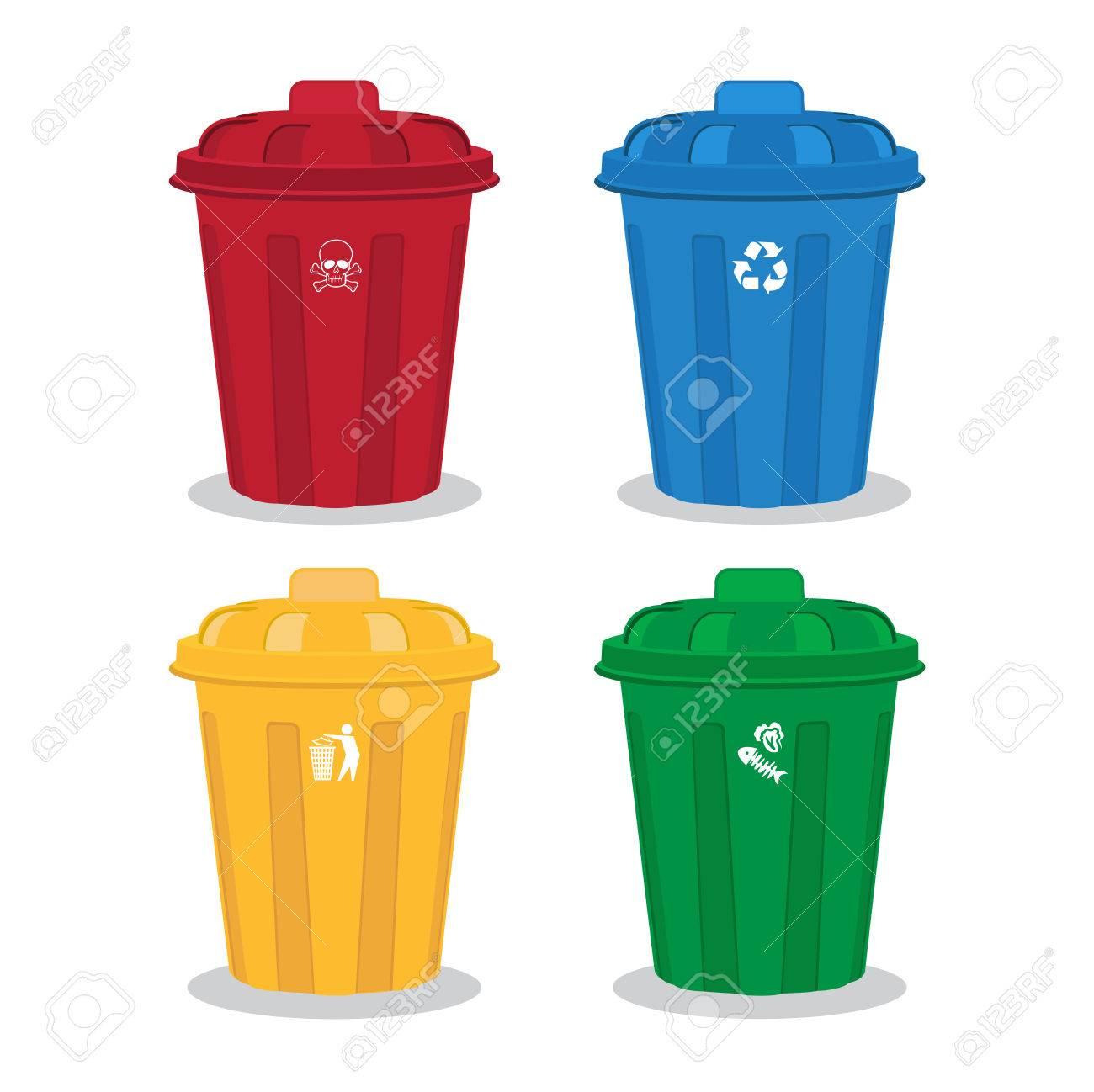 many color wheelie bins set, illustration of waste management...