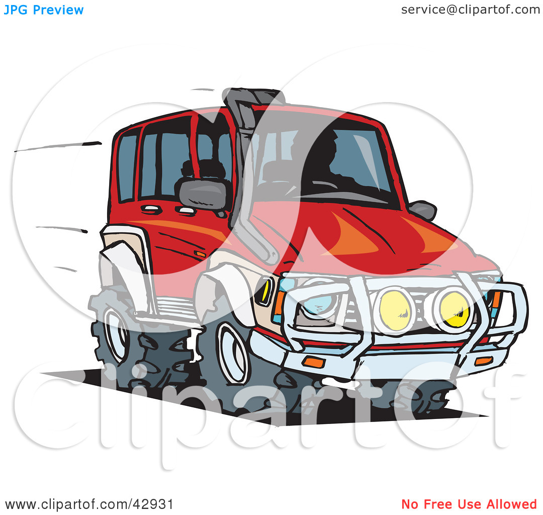 Clipart Illustration of a Red Four Wheeling SUV by Dennis Holmes.