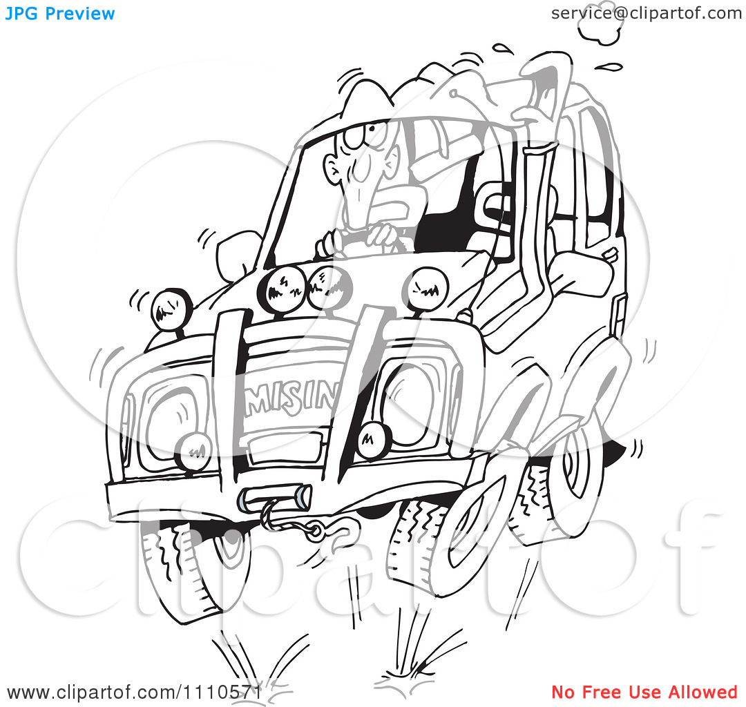 Clipart Black And White Man Four Wheeling In His SUV.