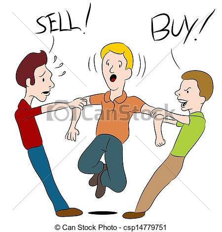 Clipart Vector of Buy Sell Argument.