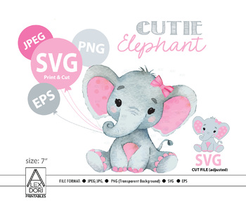 Elephant svg file, Pink elephant clip art, girl cricut print and  cut.Simplified.