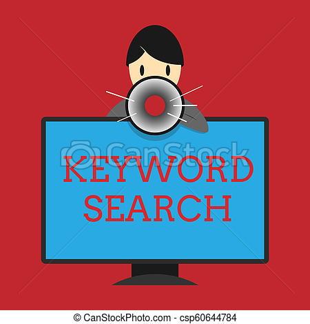 Writing note showing Keyword Search. Business photo showcasing Using word  or term to look correct subject associated to it.
