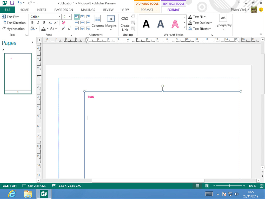 Microsoft Publisher 2013.