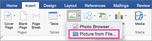 Insert pictures in Office for Mac.
