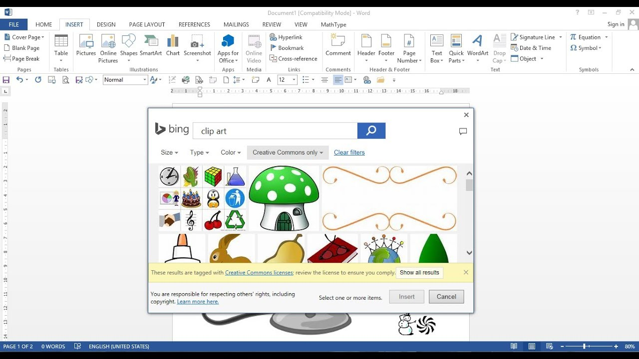 How to insert clipart in word 2013, 2016.