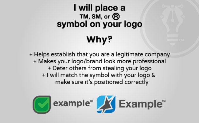 place a copyright or trademark symbol on your logo.