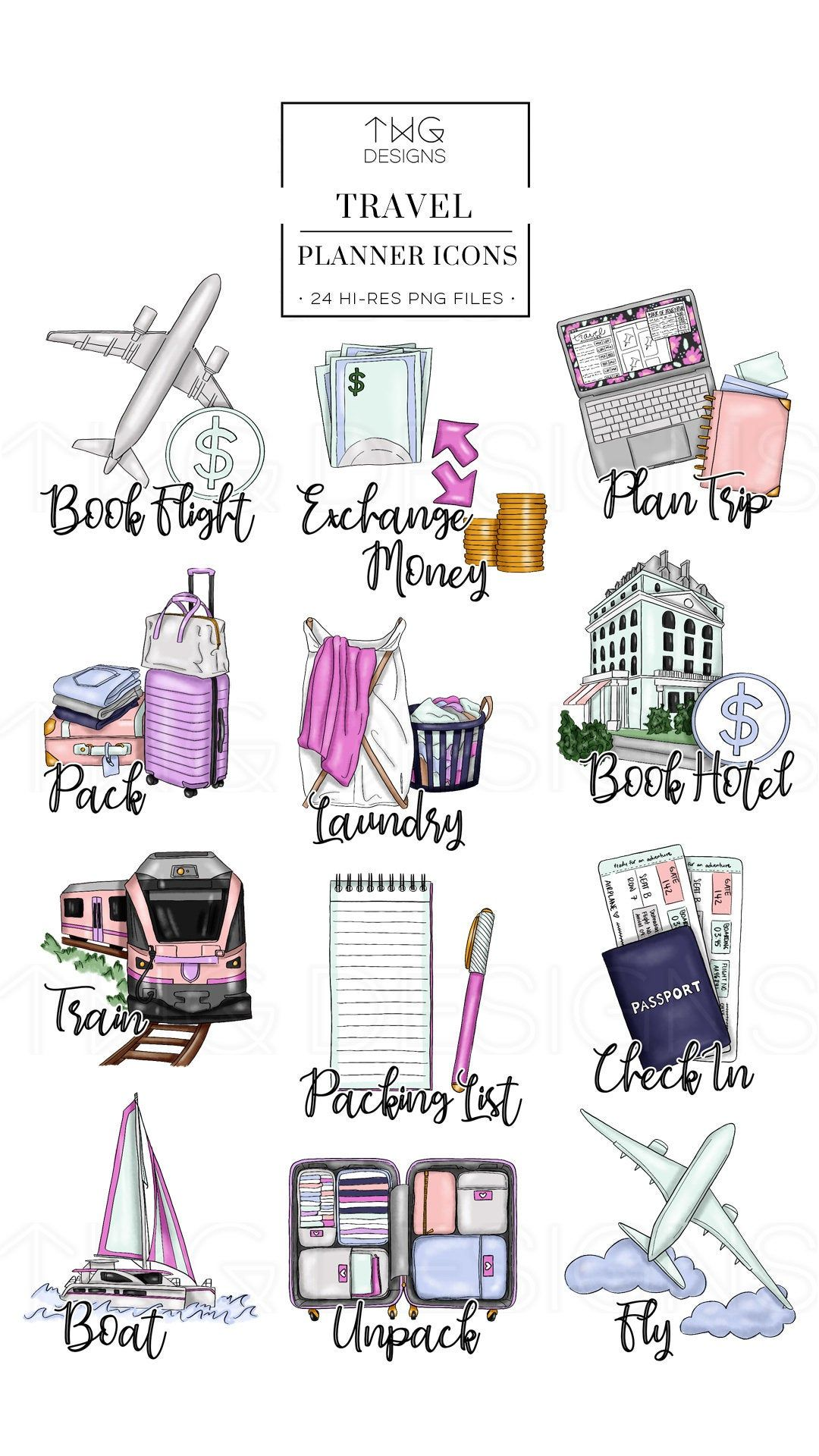 Travel Planner Icons Clip Art Clipart Watercolor Hand Drawn.