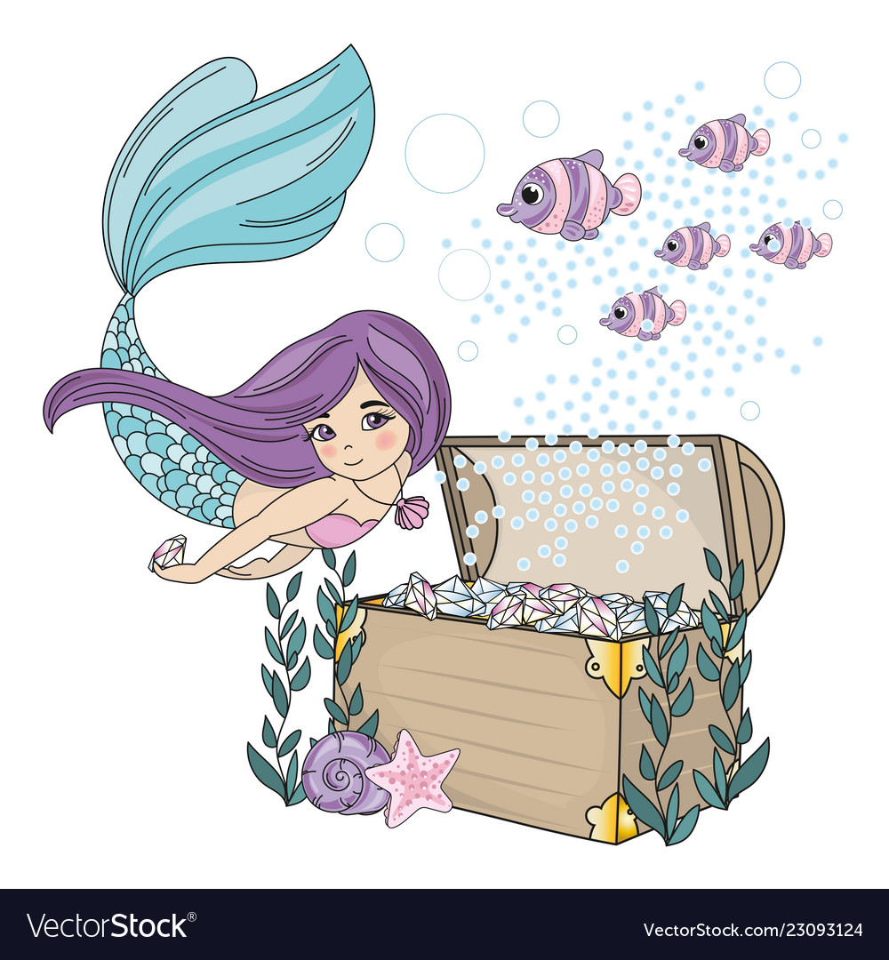 Mermaid diamond sea travel clipart color.