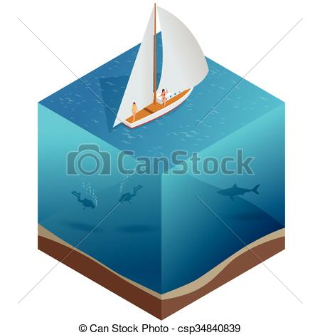 Vectors of Yacht, water carriage and maritime transport, Ship.
