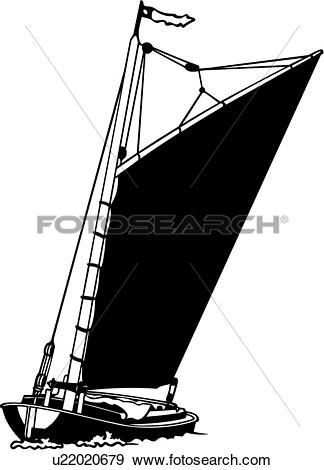 Clip Art of , boat, sailboat, sailing, sport, wherry, ship, ocean.