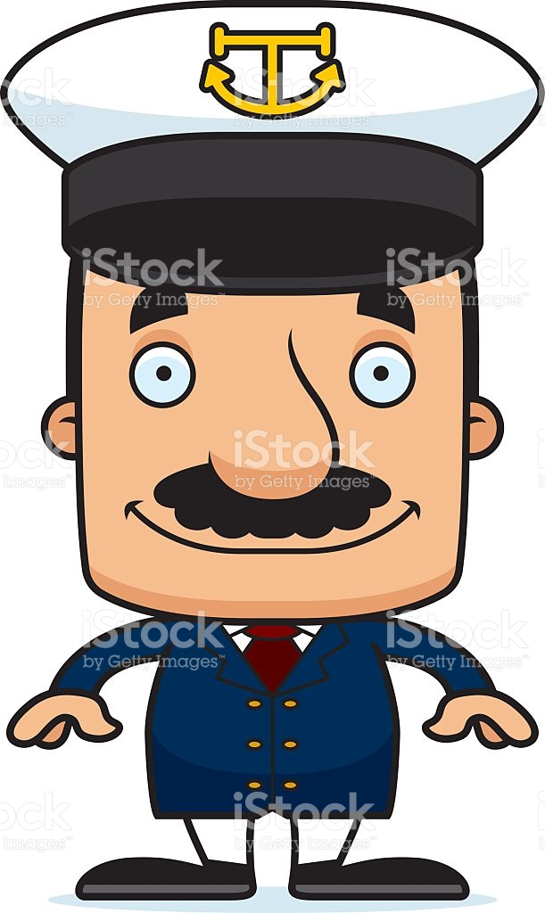 Cartoon Smiling Boat Captain Man stock vector art 478480772.