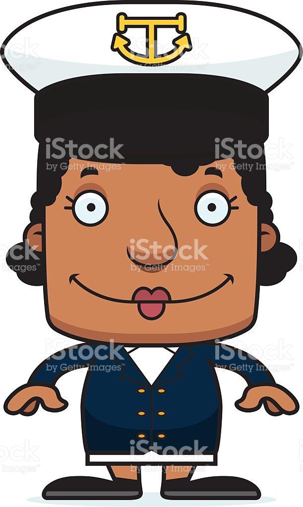 Cartoon Smiling Boat Captain Woman stock vector art 478381684.