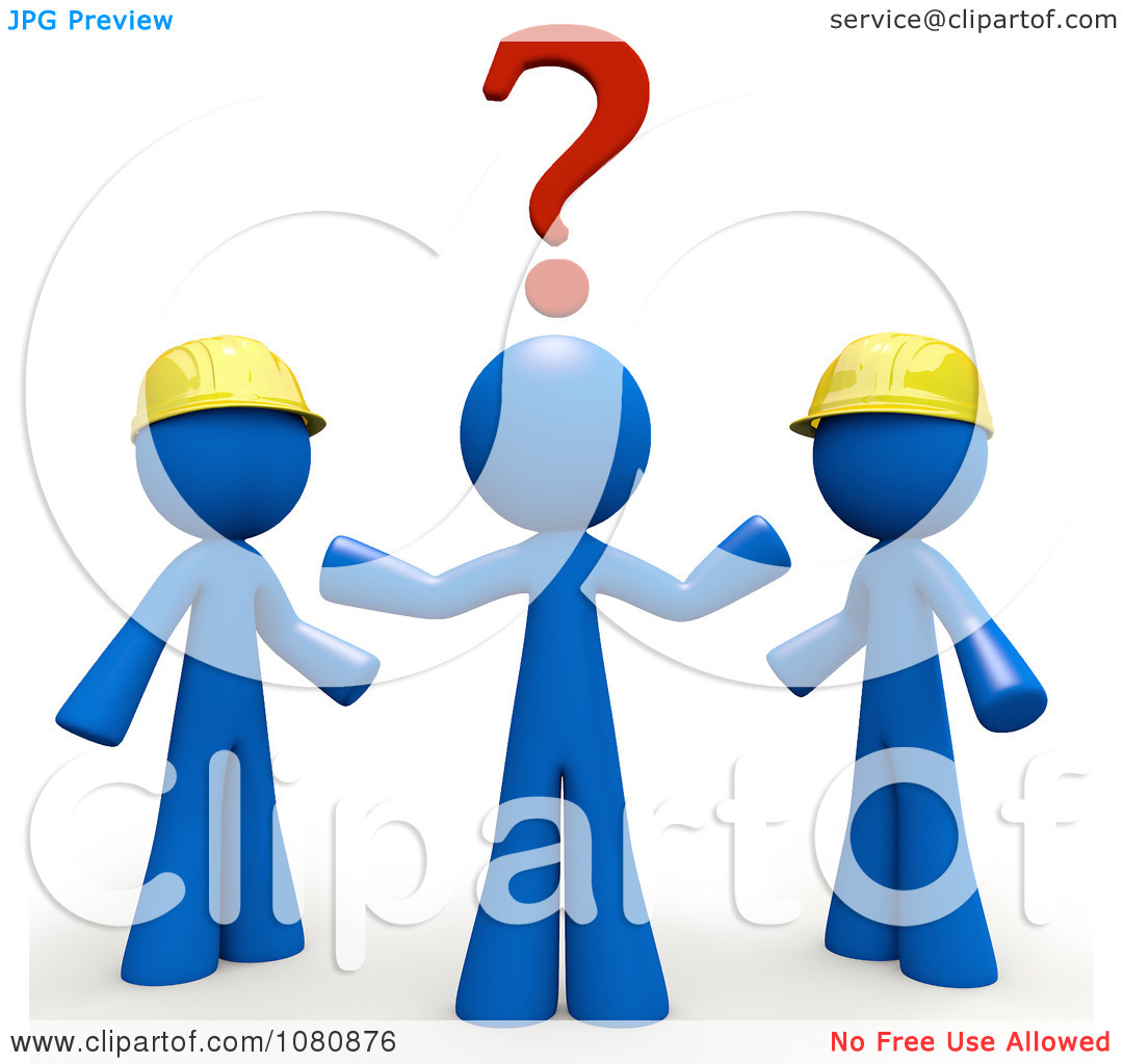 Clipart 3d Blue Man Trying To Decide Which Contractor To Use.
