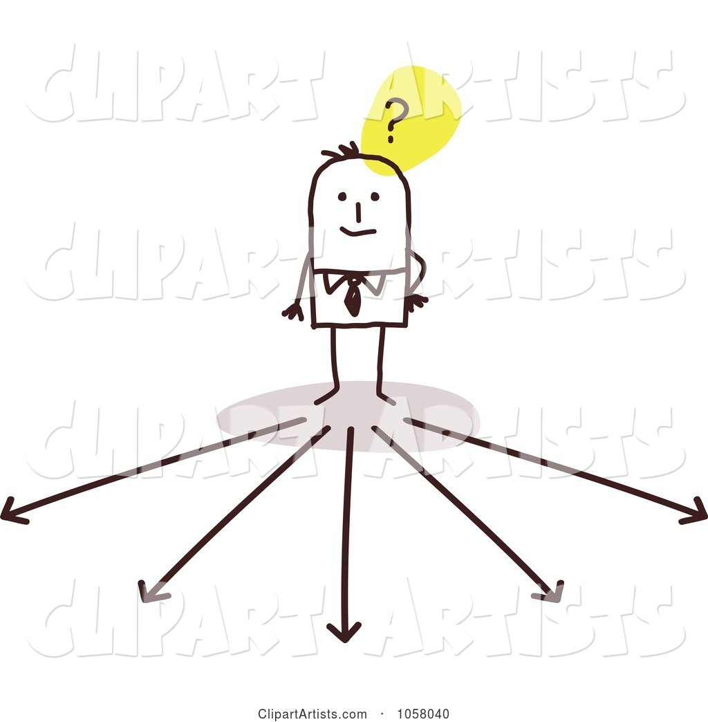 Stick Businessman Trying To Decide Which Way To Go Clipart.