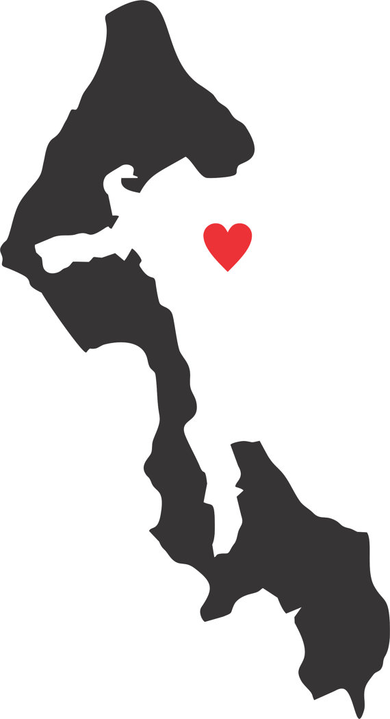 Whidbey Island Decal with Heart.